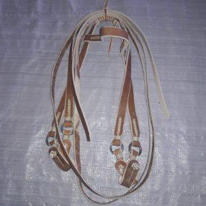Cabezada y rienda simple de cuero crudo codigo 0445